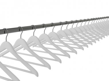 White clothes hangers isolated