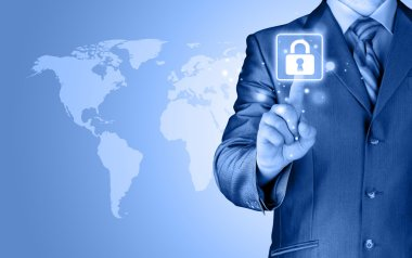 Businessman touch lock on world map  background