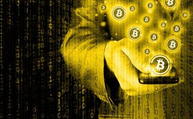 Phone and bitcoin symbol