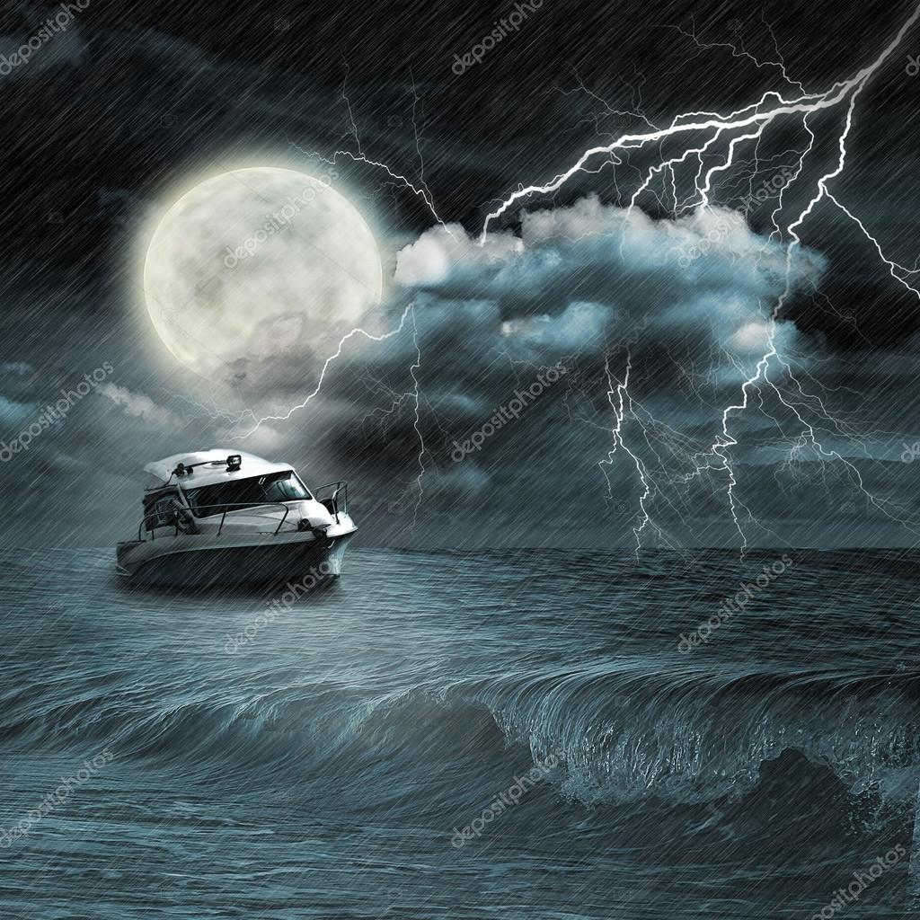 Boat in storm  evening