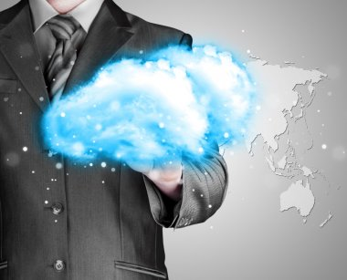 Cloud computing concept, close up of young businessman with cloud over his hand stock vector