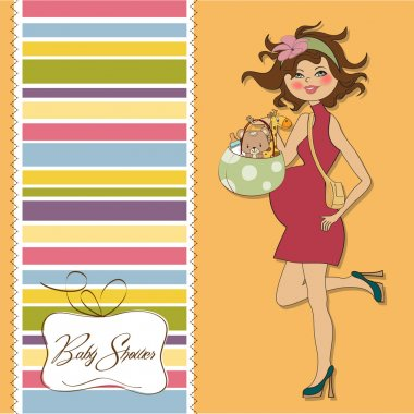 Baby shower invitation with pregnant