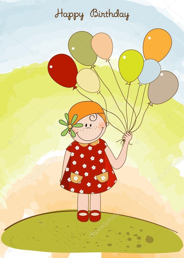 Прикольная картинка, девочка с шарами открытка