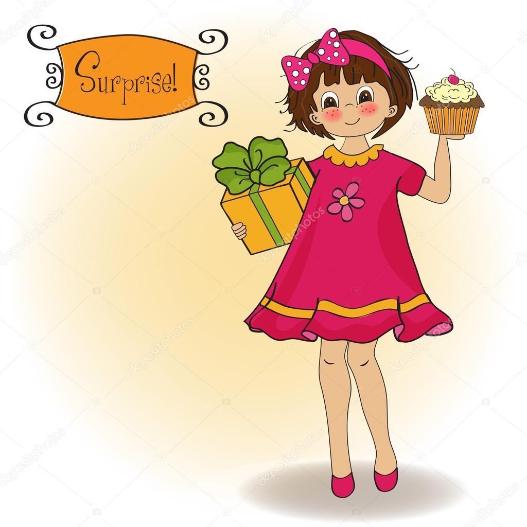 grattis på födelsedagen roliga kort Grattis på födelsedagen kort med rolig tjej — Stock Vektor  grattis på födelsedagen roliga kort