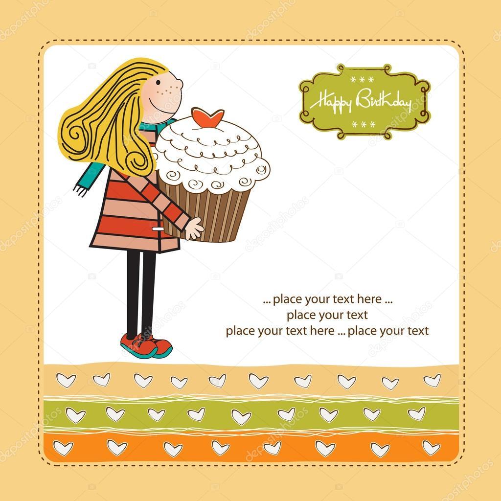 grattis på födelsedagen kort med text Grattis på födelsedagen kort med flicka och cupcake — Stock Vektor  grattis på födelsedagen kort med text