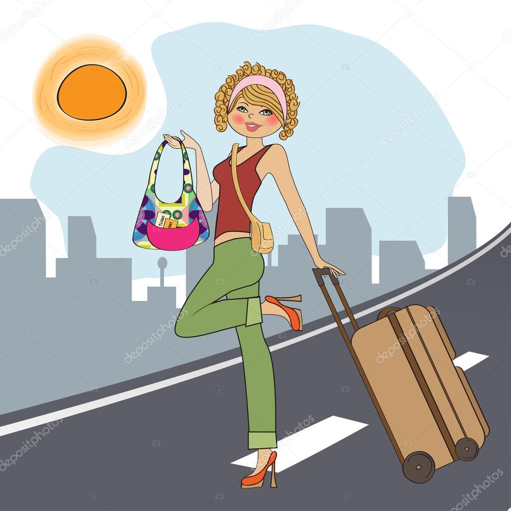 Днем, картинки девушка с чемоданом прикольные