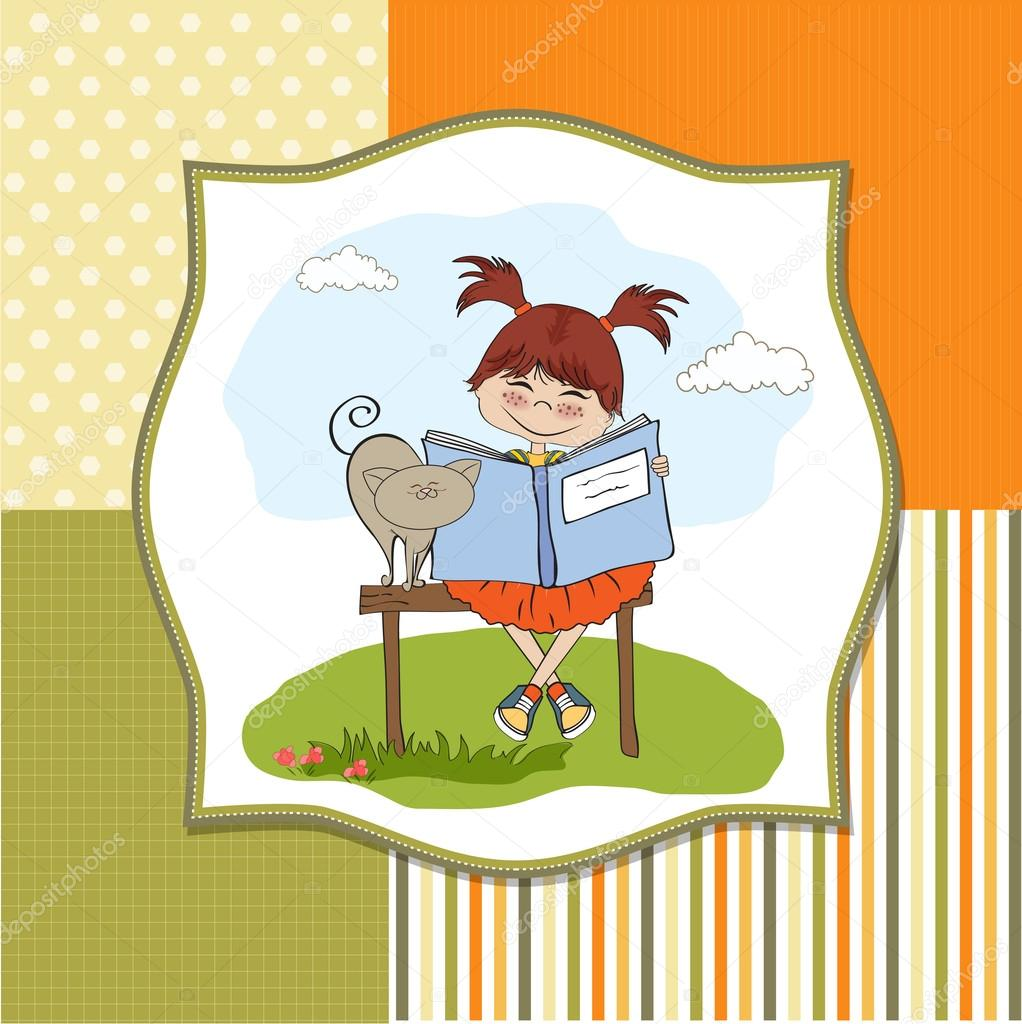 book Girl stock reading