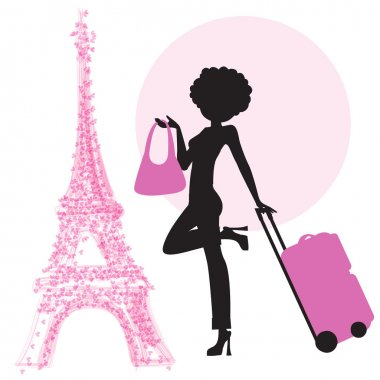 Woman with suitcase in Paris