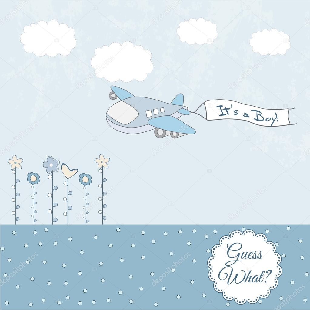 baby boy announcement card with airplane stock vector