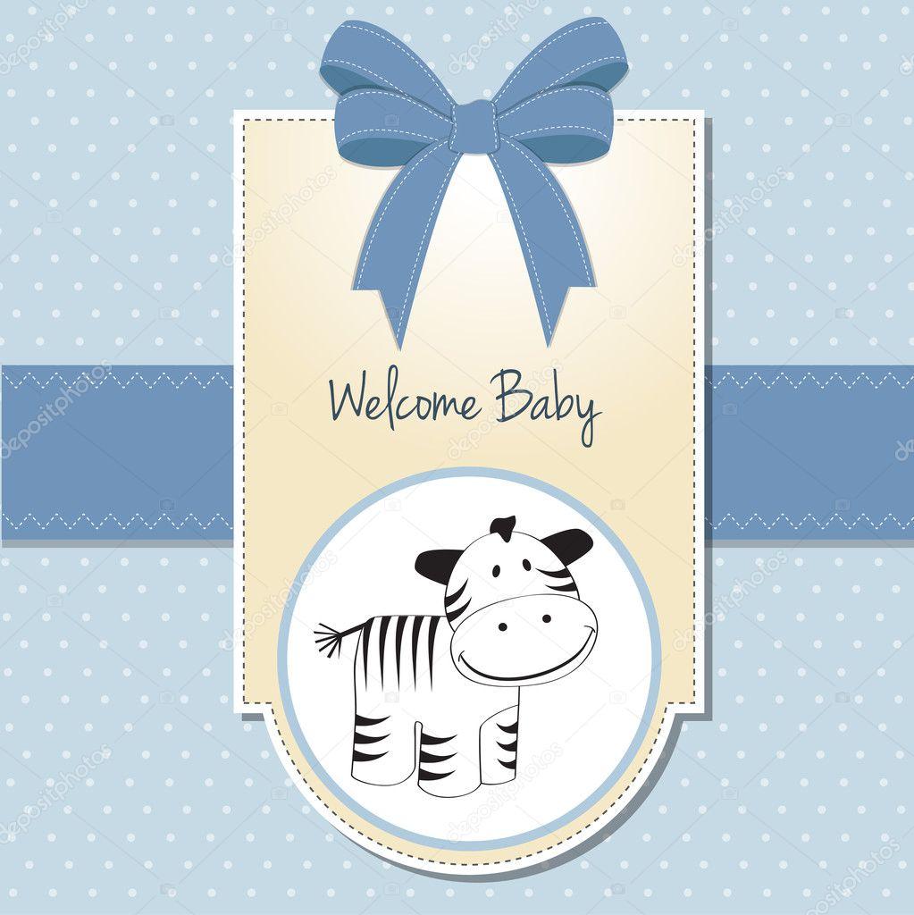 Cute Baby Shower Card With Zebra Stock Vector C Claudiabalasoiu