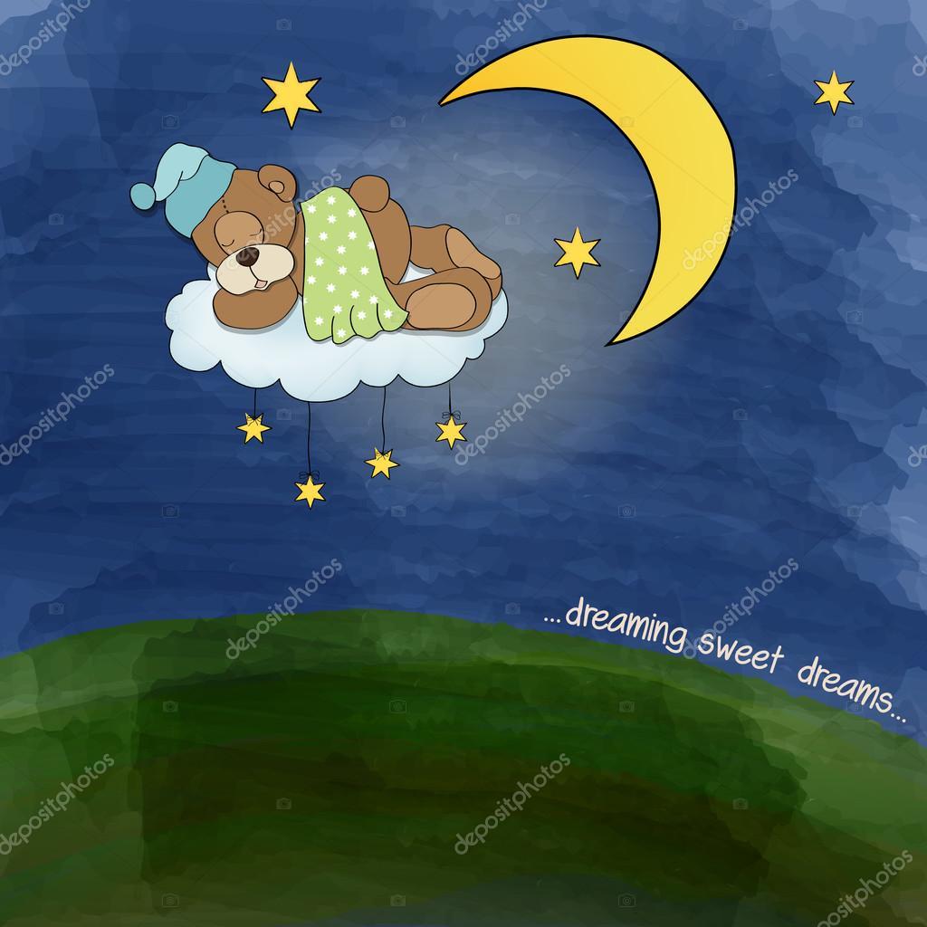 baby teddy bear sleeping on cloud