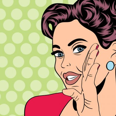 Pop art retro woman in comics style, vector illustratation clip art vector