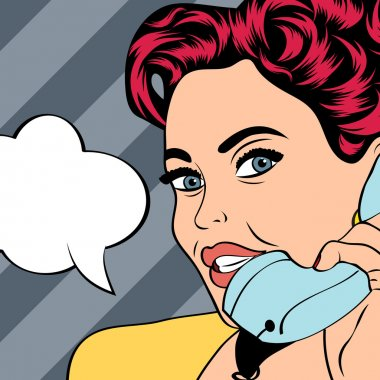 Woman chatting on the phone, pop art illustration in vector format clip art vector