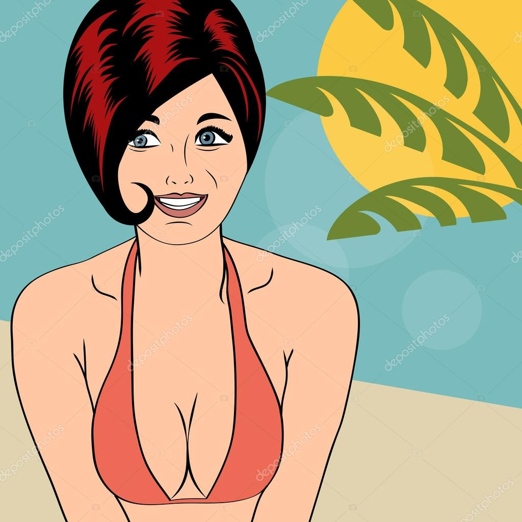 Hot pop art girl on a beach
