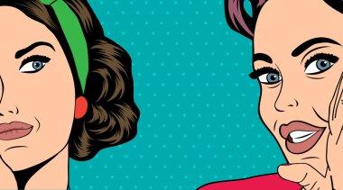 Two pop art girlfriends talking, comic art illustration