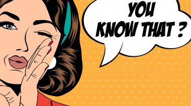 Pop art retro woman in comics style, vector illustration stock vector