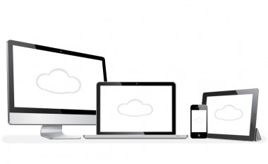 Vector illustration modern  laptop, phone, tablet on a white background with cloud on screen stock vector