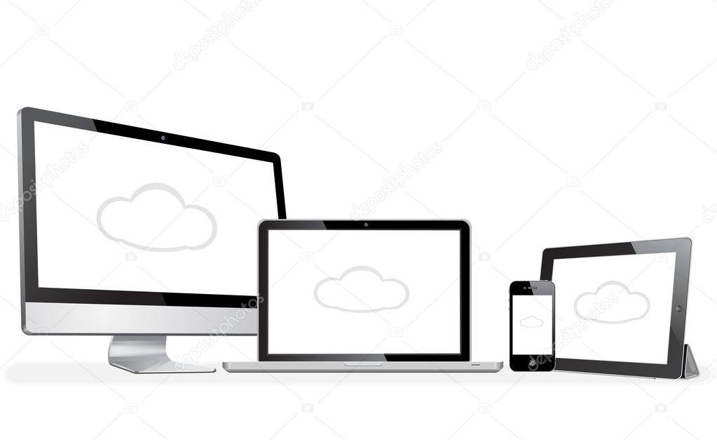 Vector illustration modern laptop, phone, tablet, computer apple style