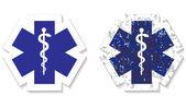 medizinisches Symbol des Notfall-Grunge-Stickers