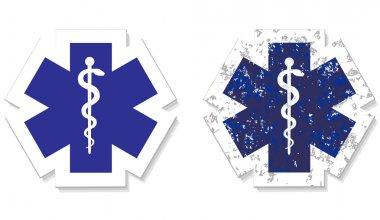 Medical symbol of the Emergency grunge sticker