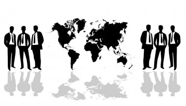 World Map with group people
