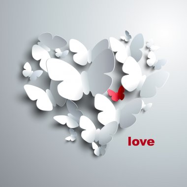 Valentine's Heart of butterflies stock vector