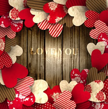 Valentine Day background with free space for your text decorated with paper hearts clip art vector