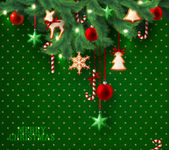 Fotografie Vánoční vinobraní grunge zelené pozadí s vánoční stromek větve a dekorace