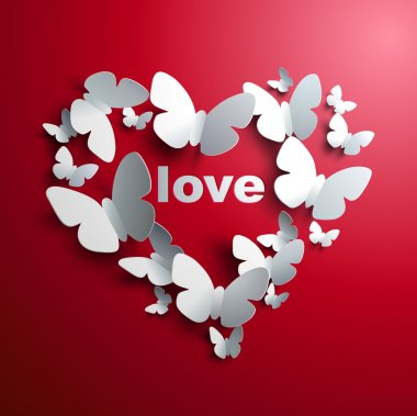 Valentine's Heart of butterflies - concept of love stock vector