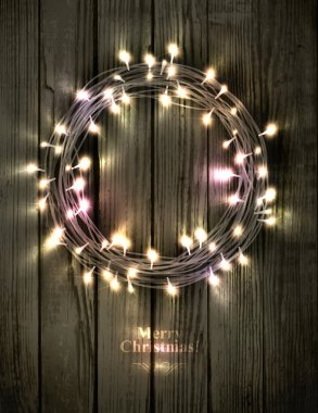 Glowing Christmas wreath made of led lights