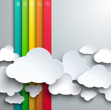Stylized paper cutout clouds and rainbow.