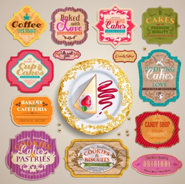 Vintage Valentine's set of grunge stickers, labels and tags for cafe and bakery