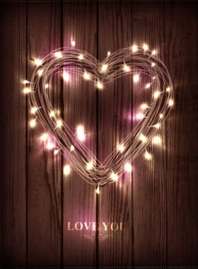 Valentine's heart-shaped wreath made of led lights on the wooden background clip art vector