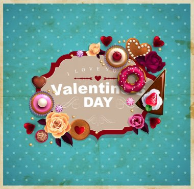 Valentine's Day vintage frame for your text decorated with sweets, cupcakes, cookies roses, doughnut, cakes, chocolate,and golden stars.