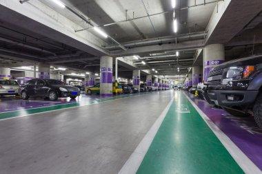 Underground parking aisle