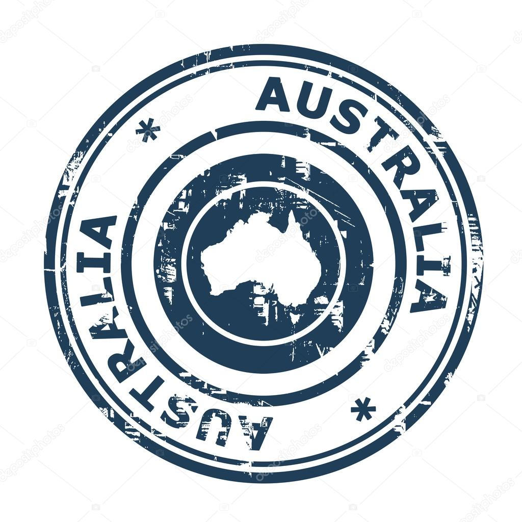 Australia Passport Stamp Isolated On A White Background