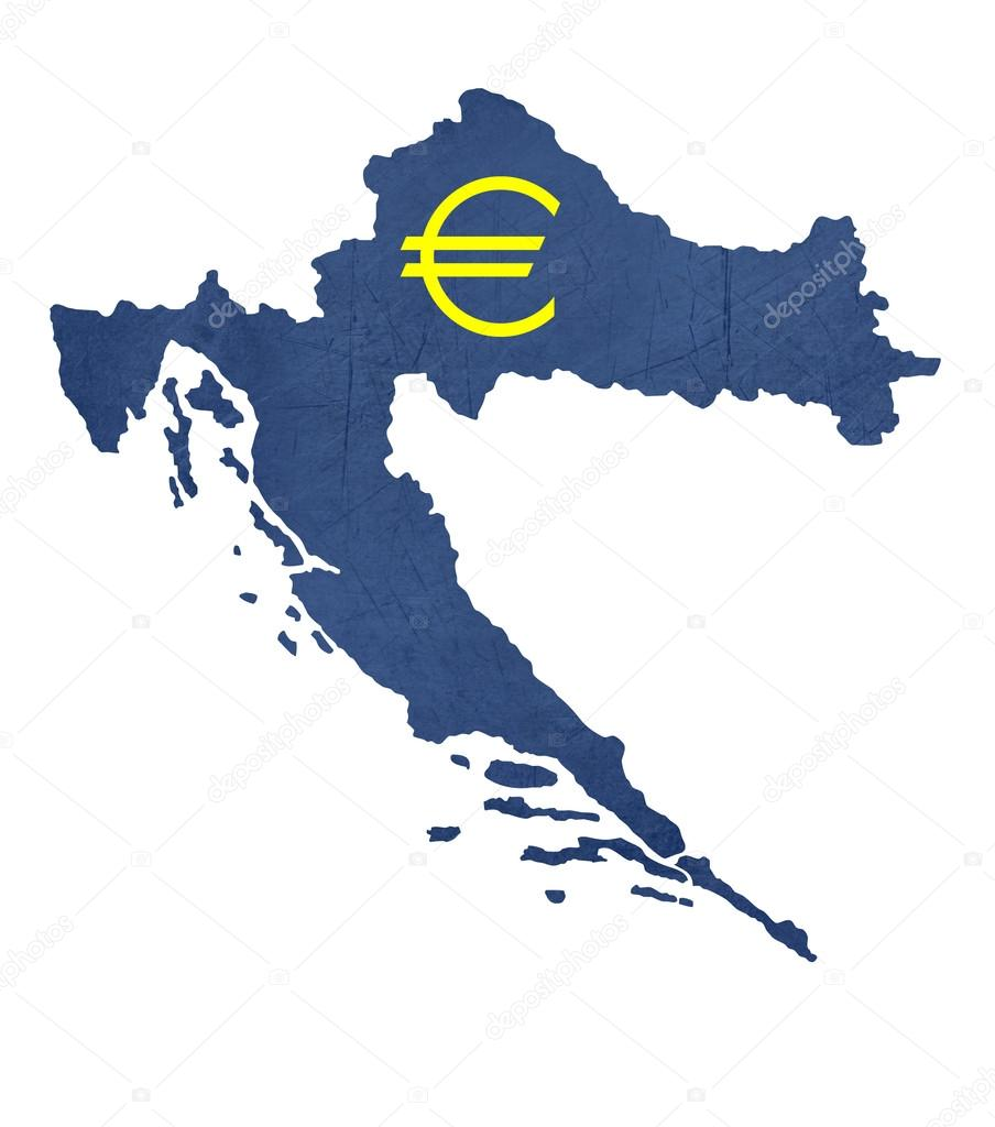 European Currency Symbol On Map Of Croatia Stock Photo