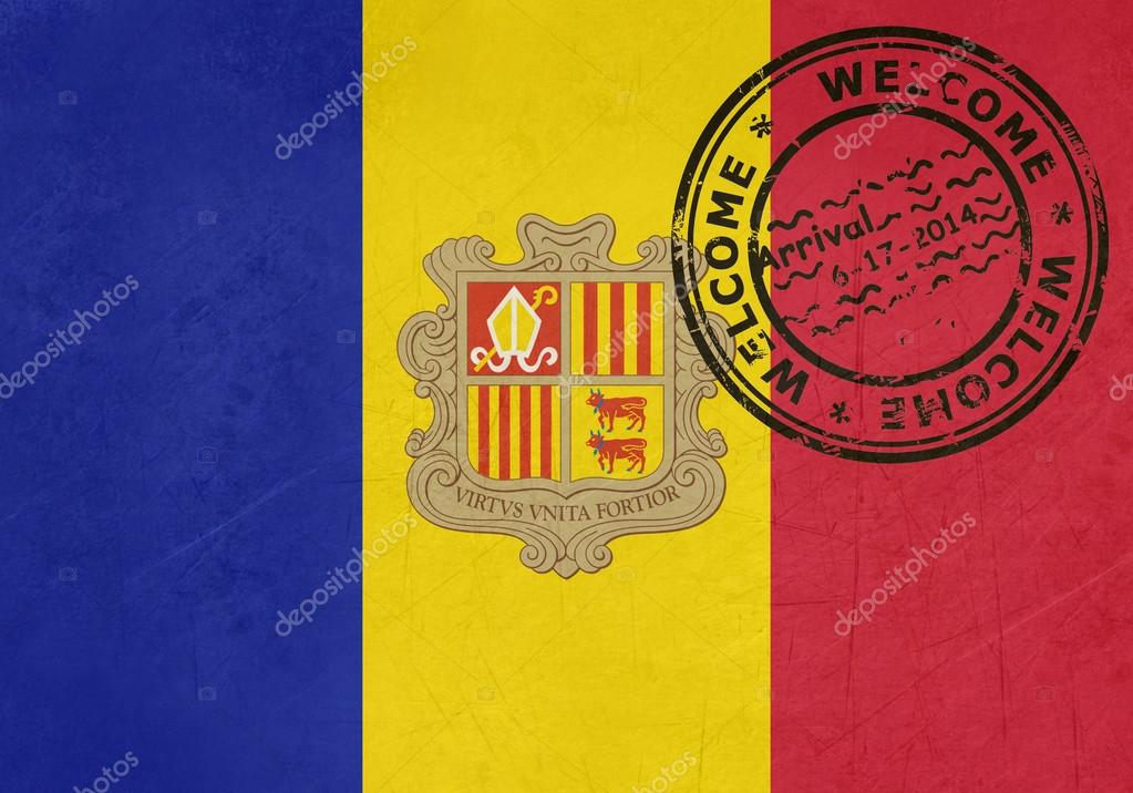 Welcome To Andorra Flag With Passport Stamp Stock Photo