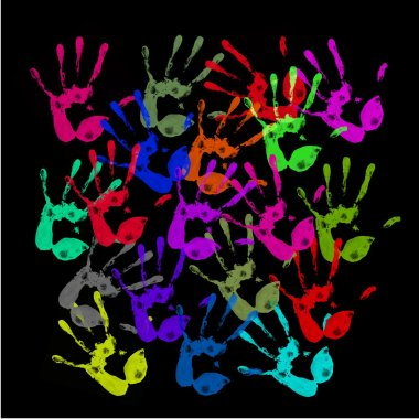A lot of colorful hand prints on black background stock vector