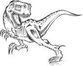 Fotografia schizzo doodle arte illustrazione di tyrannosaurus rex dinosauro t-rex