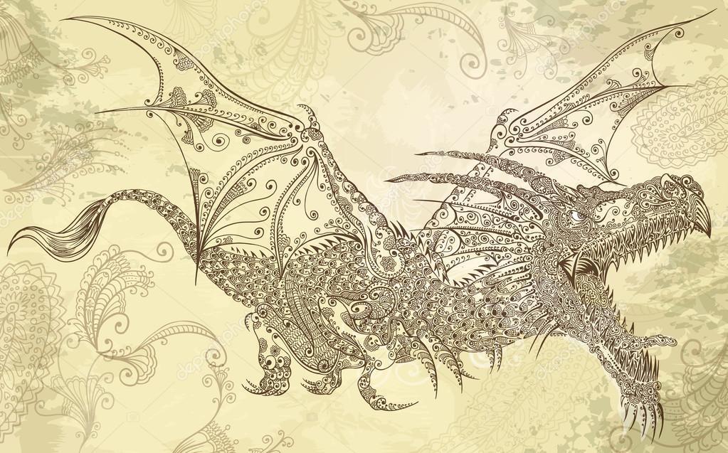 99297630b Henna Tattoo Dragon Doodle Sketch Tribal Vector — Stock Vector ...