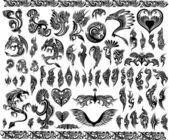 Fotografia cornici di draghi iconica frontiera del tatuaggio tribale vettoriale insieme