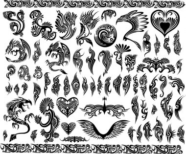 Iconic Dragons border frames Tattoo Tribal Vector Set stock vector