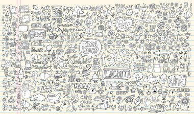Notebook Doodle Design Elements Mega Vector Illustration Set