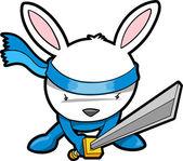 Roztomilý králíček králičí ninja vektor