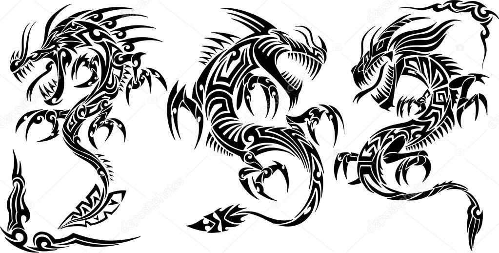 Iconic Dragons border frames Tattoo Tribal Vector Set — Stock Vector ...