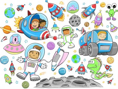 Cute Outer Space Vector Illustration Design Vector Set