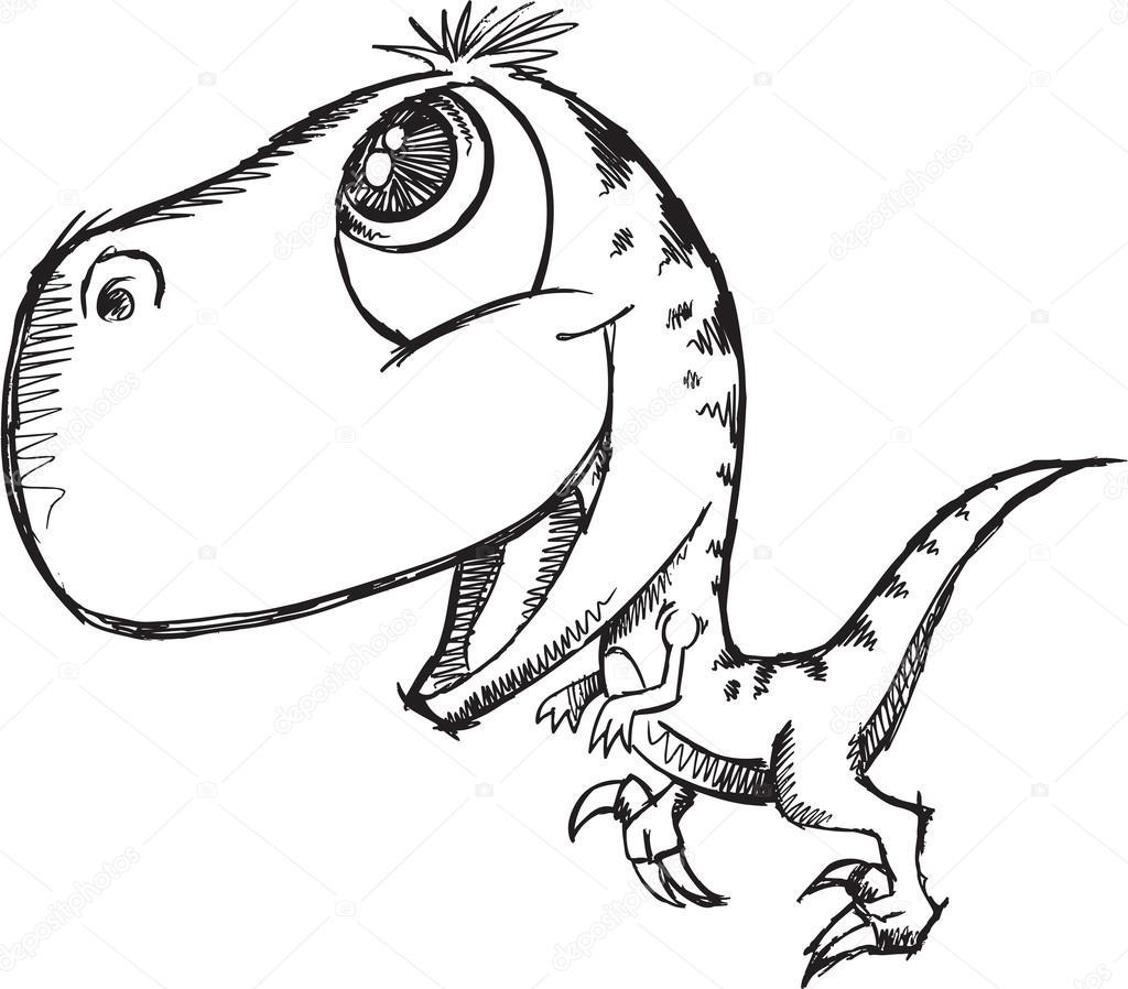 Sketch Doodle Cute Raptor Dinosaur Vector — Stock Vector ...