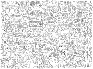 Doodle Sketch Animals People Flowers Set