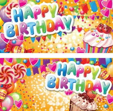 Happy birthday horizontal cards stock vector